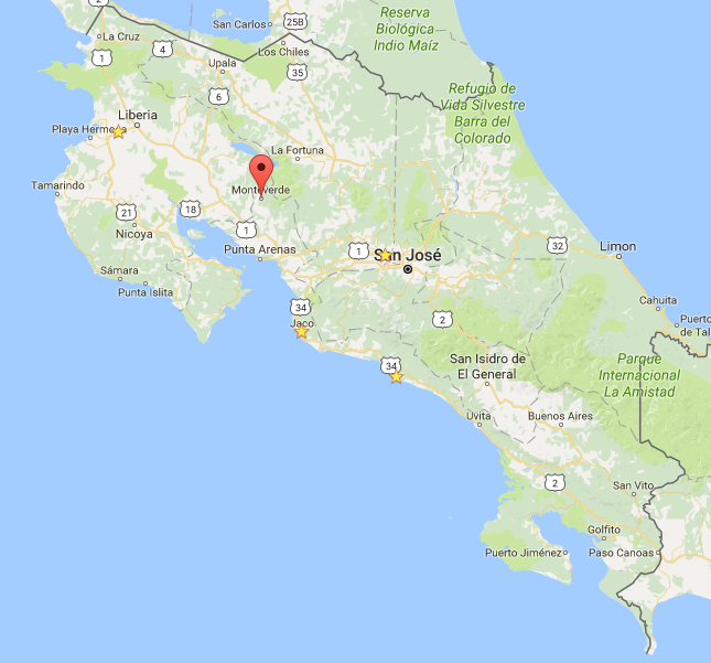 Map of Monteverde in Costa Rica