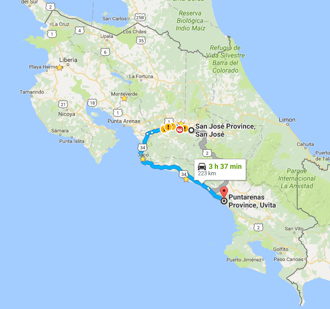 Map of driving directions from San Jose to Dominical Uvita Jaco or Ojochal Tessa Juliette - Travel Where to Next Blog - http://travelwheretonext.com