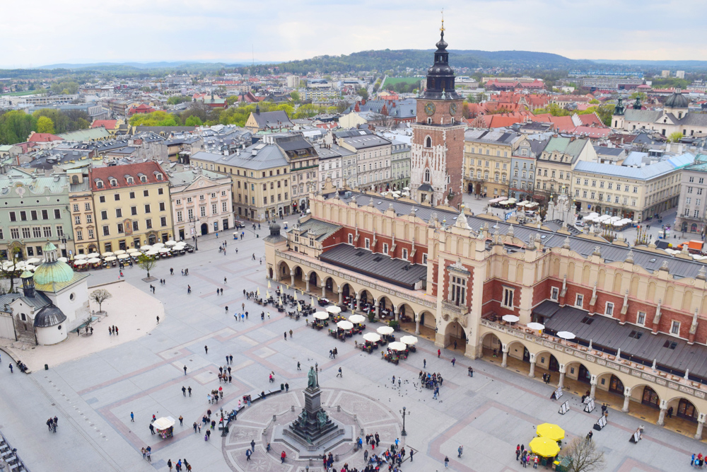 Medieval Square from above Krakow Poland
