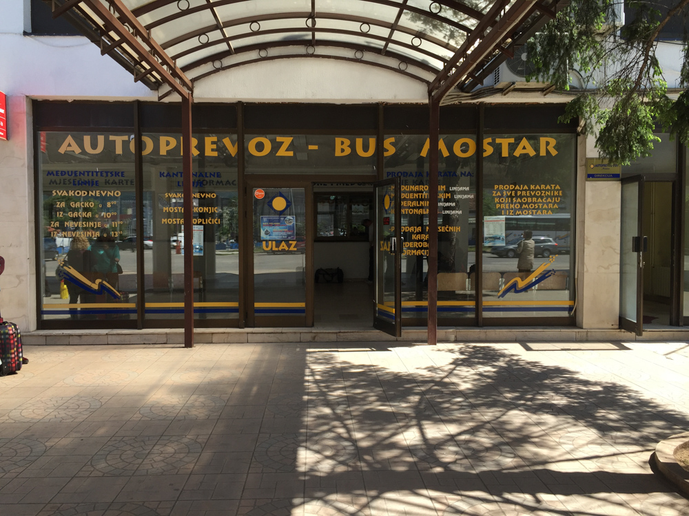 front of the ticket office at the bus station in Mostar