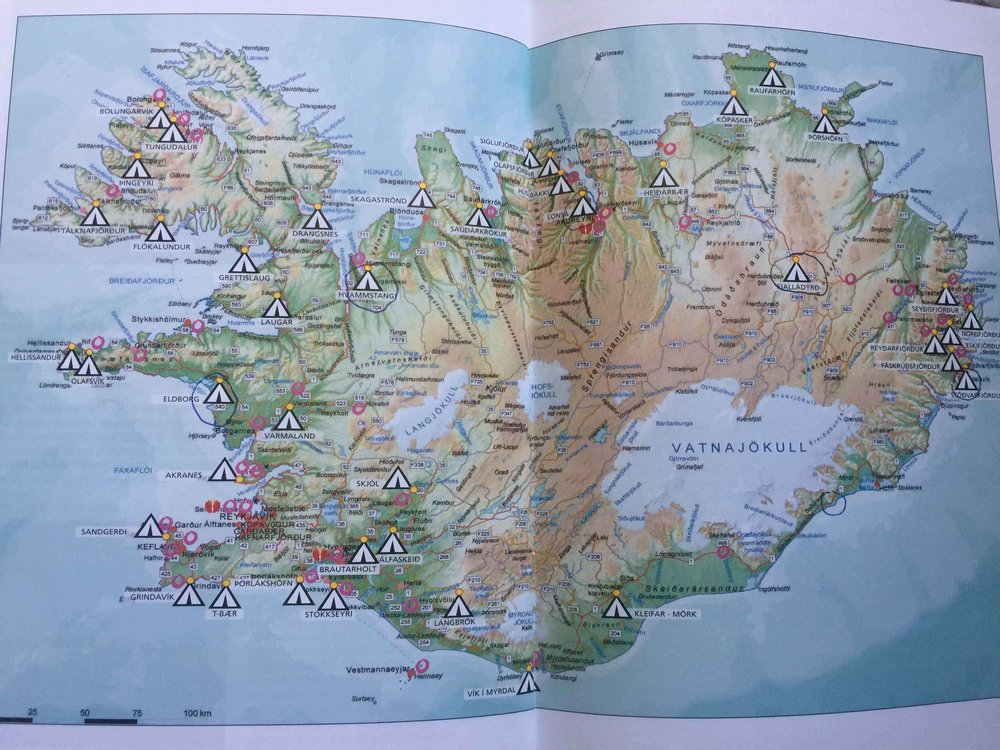 Map of camps in Iceland