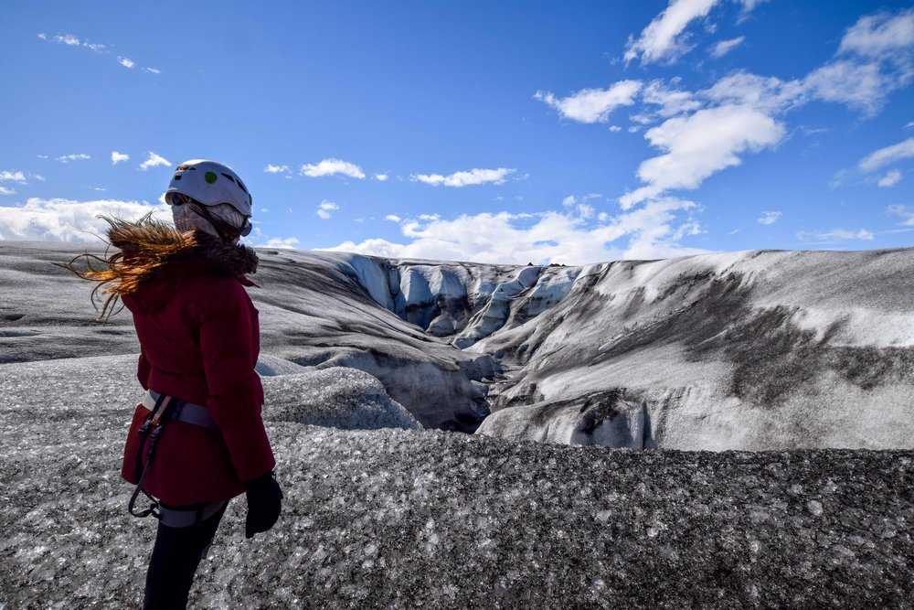 Climbing a glacier in Iceland