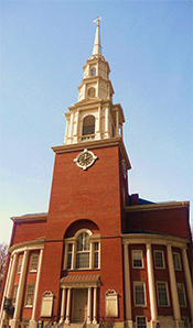 The church was founded in 1809, the 217 ft. steeple of Park Street Church was once the first landmark travelers saw when approaching Boston. -