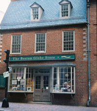 The oldest commercial building in Boston, the Old Corner Bookstore was built in 1718 as an apothecary shop and home on property that once belonged to Puritan dissident Anne Hutchinson. - Today, the building is being leased and reused by Chipotle.