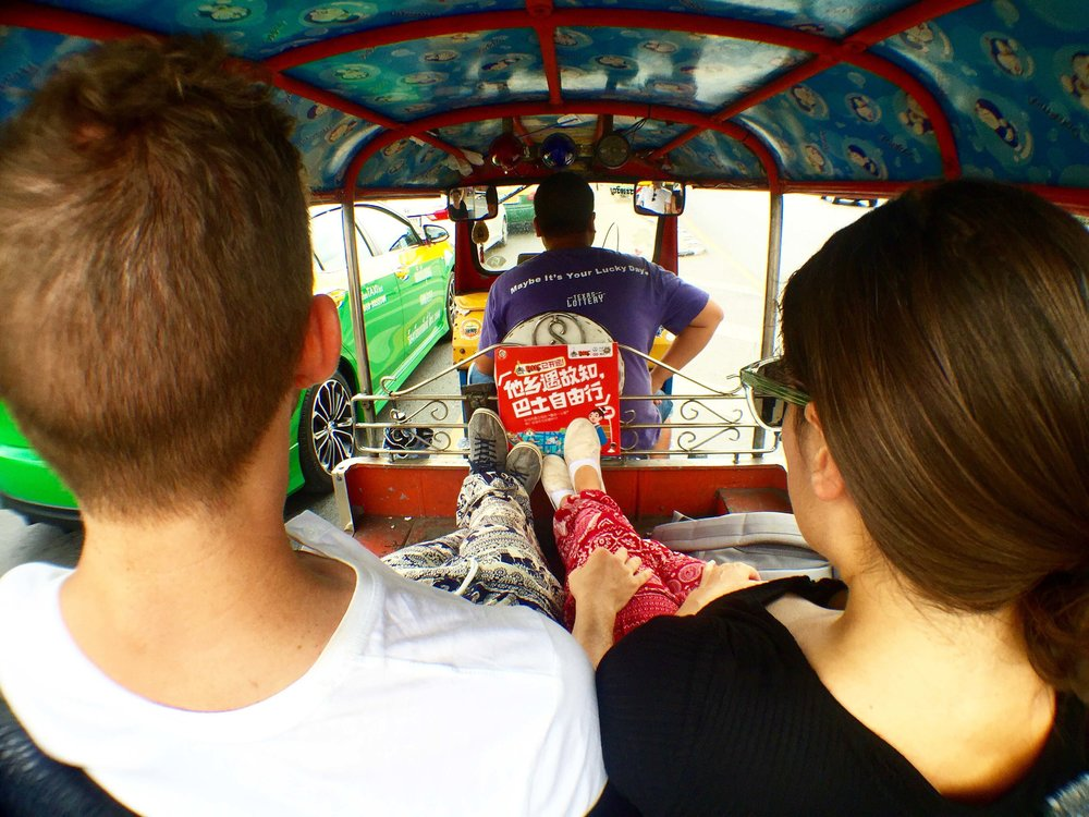 Riding in a tuk-tuk is one of the things you can't miss out on when in Bangkok Thailand.