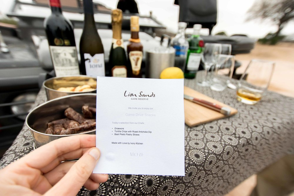 Menu for quick snack on game drive at Lion Sands Ivory Lodge