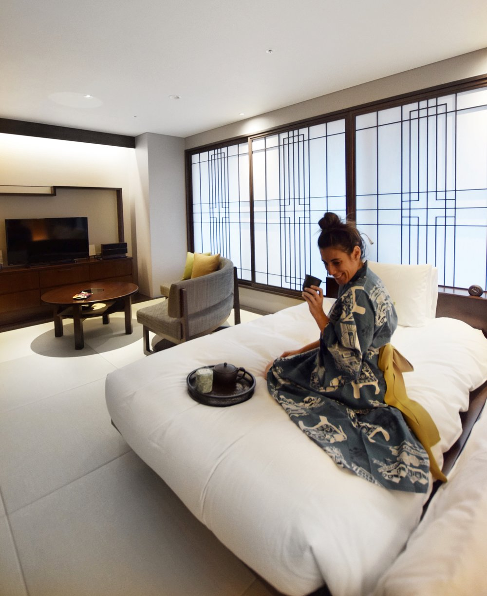 Enjoying the gorgeous room at Hotel Ryumeikan in Tokyo