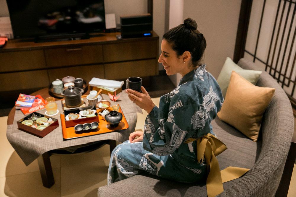 Enjoying breakfast at Hotel Ryumeikan in Tokyo