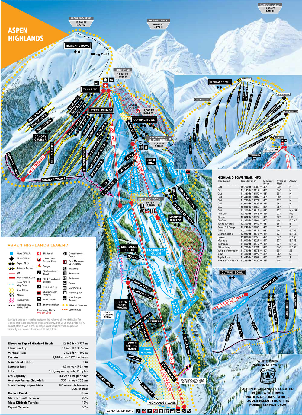Aspen Highlands Trail Map - Click to enlarge