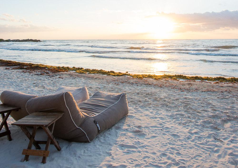 Beach chairs at Tata Tulum