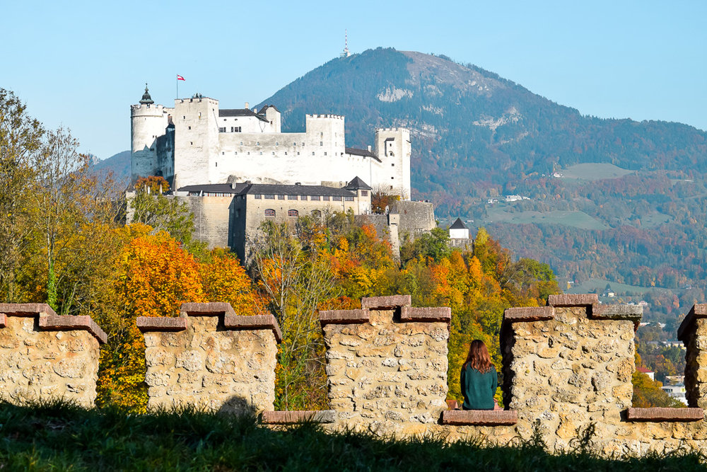 View of the Hohensalzburg Fortress from afar