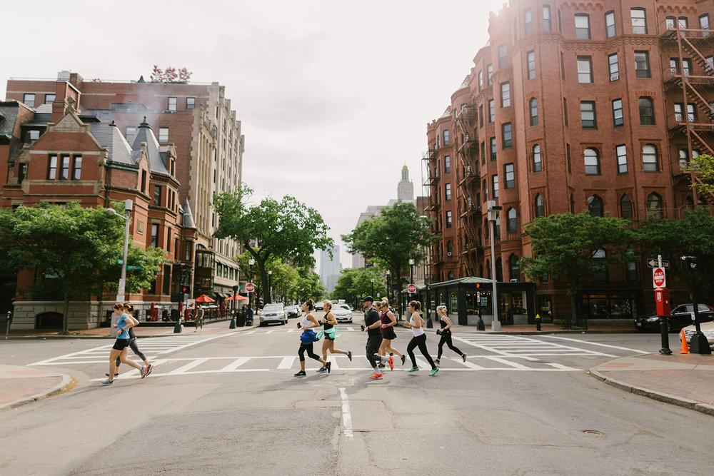 Mid-run on the streets of Boston