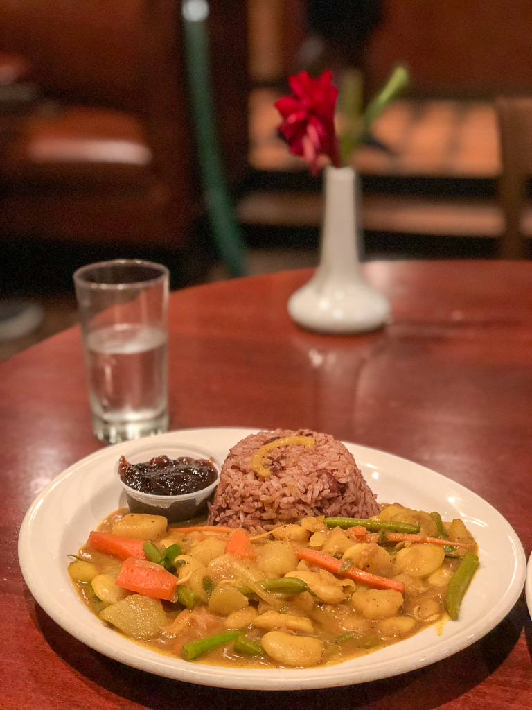 Traditional Jamaican meal at Pelican Grill