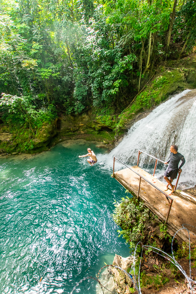 The main jumping platform for the Blue Hole in Ocho Rios Jamaica