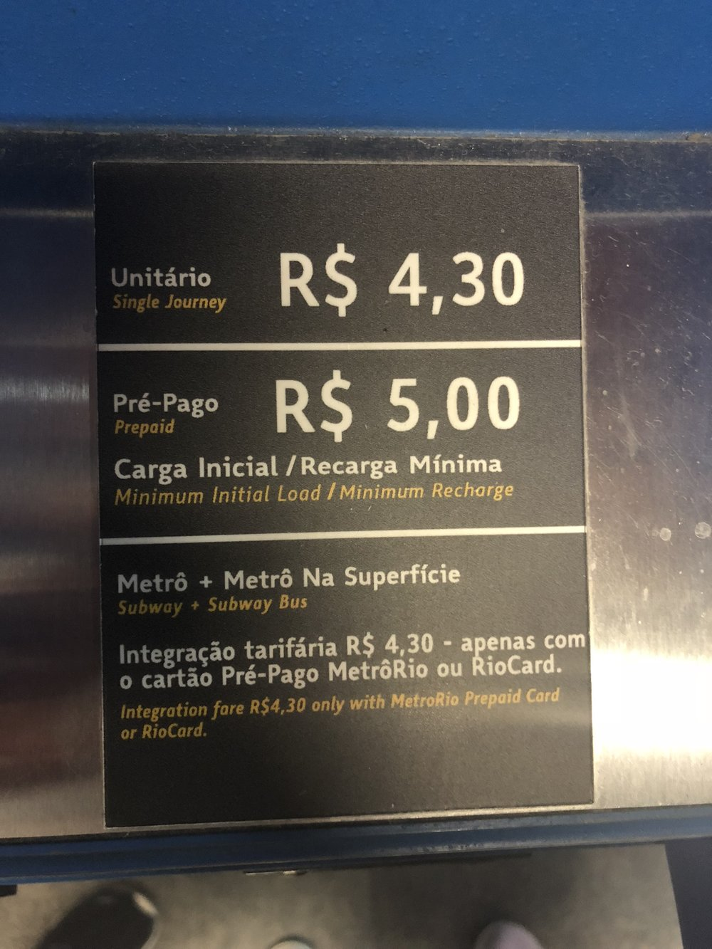Prices for the Rio Subway
