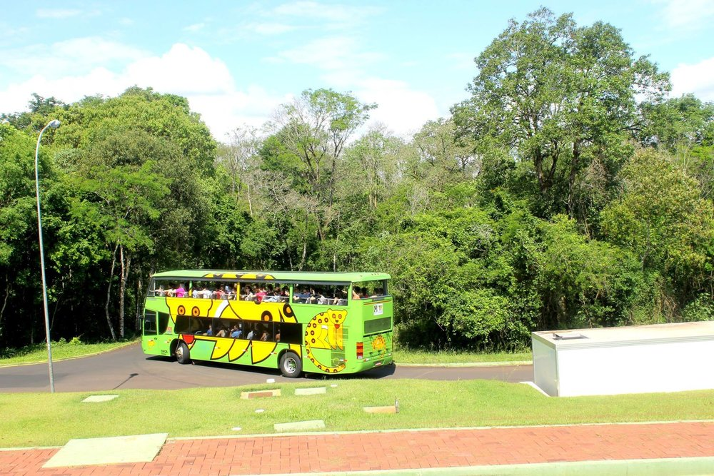 Buses inside the national park to travel around Iguazu Falls