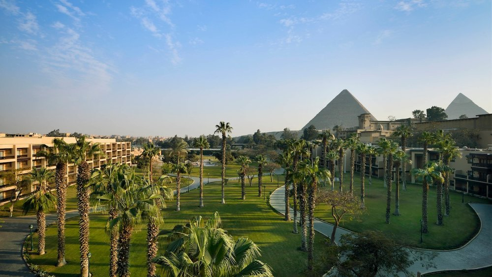 Wide view shot of the full property of the Marriott Mena House in Cairo