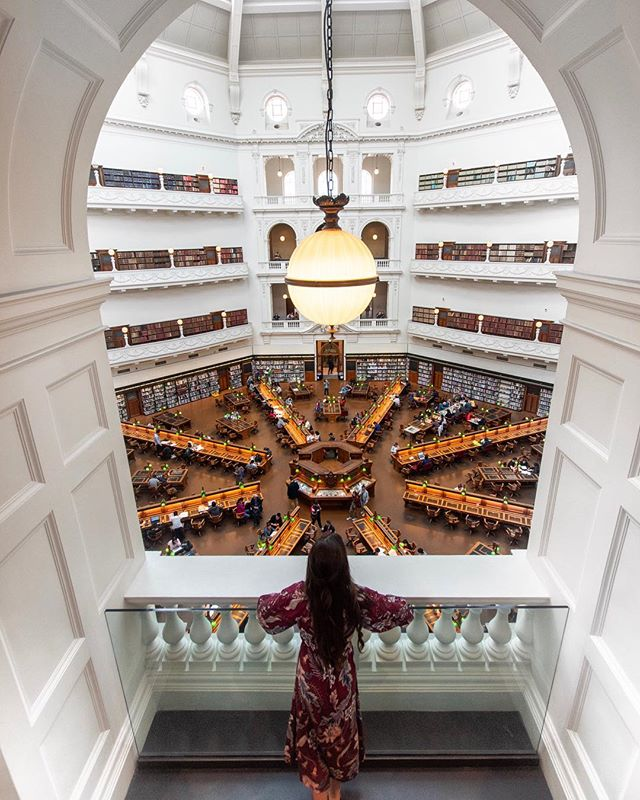 Such a gorgeous find in Melbourne. This is the State Library of Victoria and it was one of the first free library's in the world (established in 1854). Anyone over 14 years of age could enter but one of the rules was they had to have clean hands. 🤭 — #dametraveler #sheisnotlost #WeAreTravelGirls #femmetravel #SidewalkerDaily #Girlaroundworld #passionpassport #darlingescapes #gltLOVE #mylpmag #ladiesgoneglobal #lovetheworld #BBCtravel #fodorsonthego #timeoutsociety #iamatraveler #girlsmeetglobe #traveloffpath #australia #victoria #melbourne