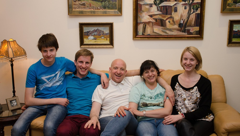Igor and Tanya Grishajev and family.  Igor (middle), Tanya (to his right), Dominic (left), Yaroslav (second left) and Alice (right).