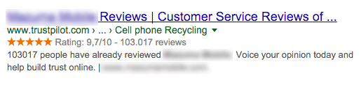 snippets example Trustpilot