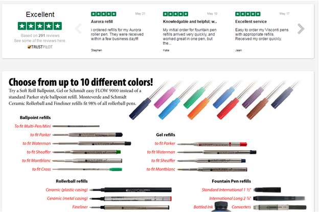 *Colorado Pen toont hun beoordelingen met een Trustpilot widget op hun homepage, zoals hierboven is te zien.