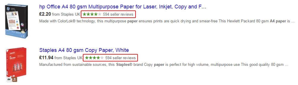 voorbeeld seller ratings staples