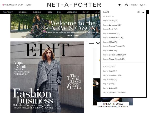 Net-A-Porter's krachtige zoekbalk toont gebruikers hoe relevant een zoekterm is binnen de productcategorieën.