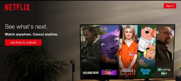 Netflix heeft een korte CTA, simpel en gemakkelijk herkenbaar.