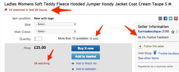 Deze eBay pagina staat vol met aanwijzingen van social proof