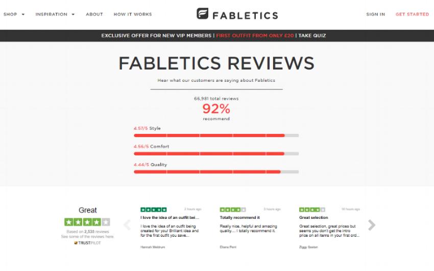 Fabletics heeft Trustpilot beoordelingen toegevoegd aan hun website