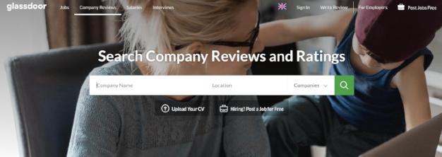 Glassdoor verzamelt anonieme beoordelingen en informatie voor potentiële werknemers.