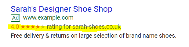 Zoals u kunt zien, biedt Google seller ratings een overzicht van beoordelingen in de vorm van een rating. De extensie verschijnt automatisch, waardoor gebruikers er enkel voor moeten zorgen dat ze over genoeg beoordelingen beschikken.