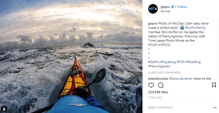 GoPro deelt enkel foto's van klanten op hun social media.