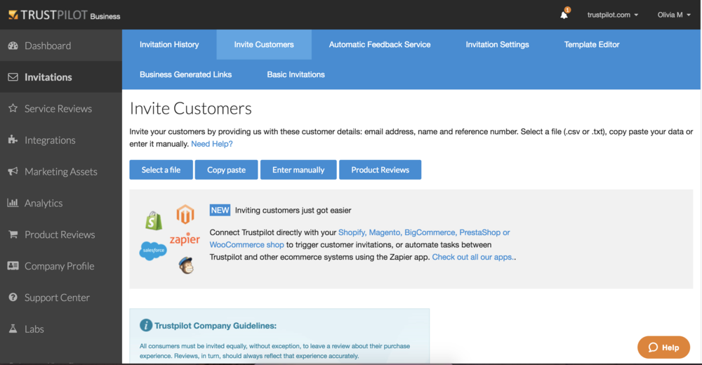 Je CSM zal je begeleiden met het versturen van je eerste review-uitnodigingen naar je klanten in wat wij de 'Business App' noemen.
