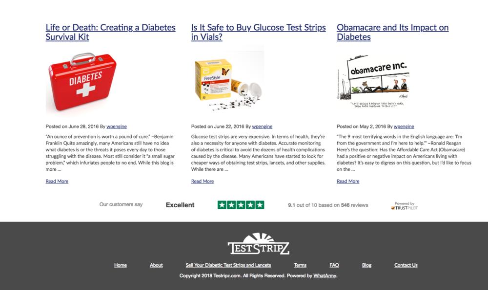 TestStripz implementeerde een TrustBox onderaan hun startpagina om hun uitstekende TrustScore te tonen.
