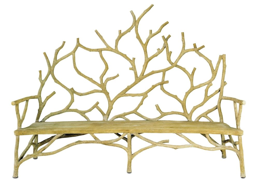 This garden bench by Currey & Company resembles wood branches, but is actually made of concrete. For more information on where to buy Currey & Company pieces, please contact us.