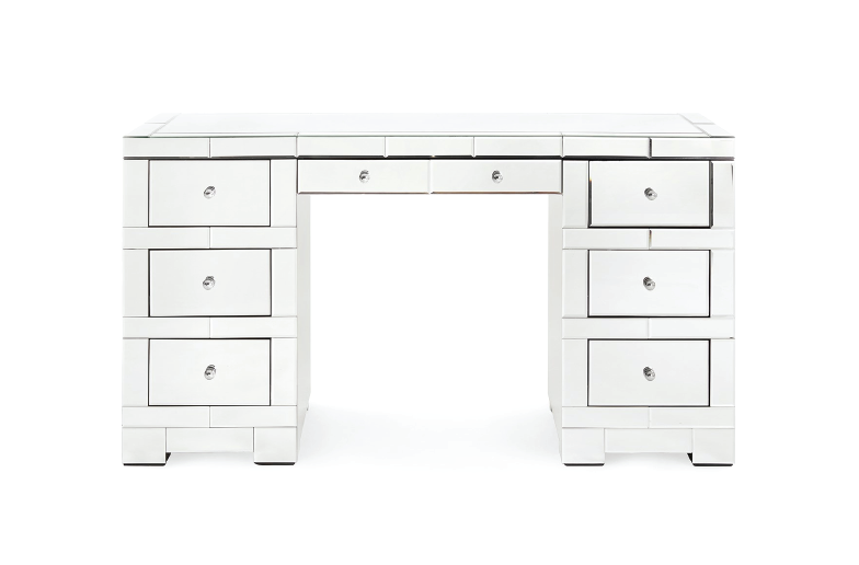 This 3-part mirrored desk by Bungalow 5 commands quite the presence with its high shine and ample storage space. If you're interested in purchasing Bungalow 5 products, please feel free to reach out to us.