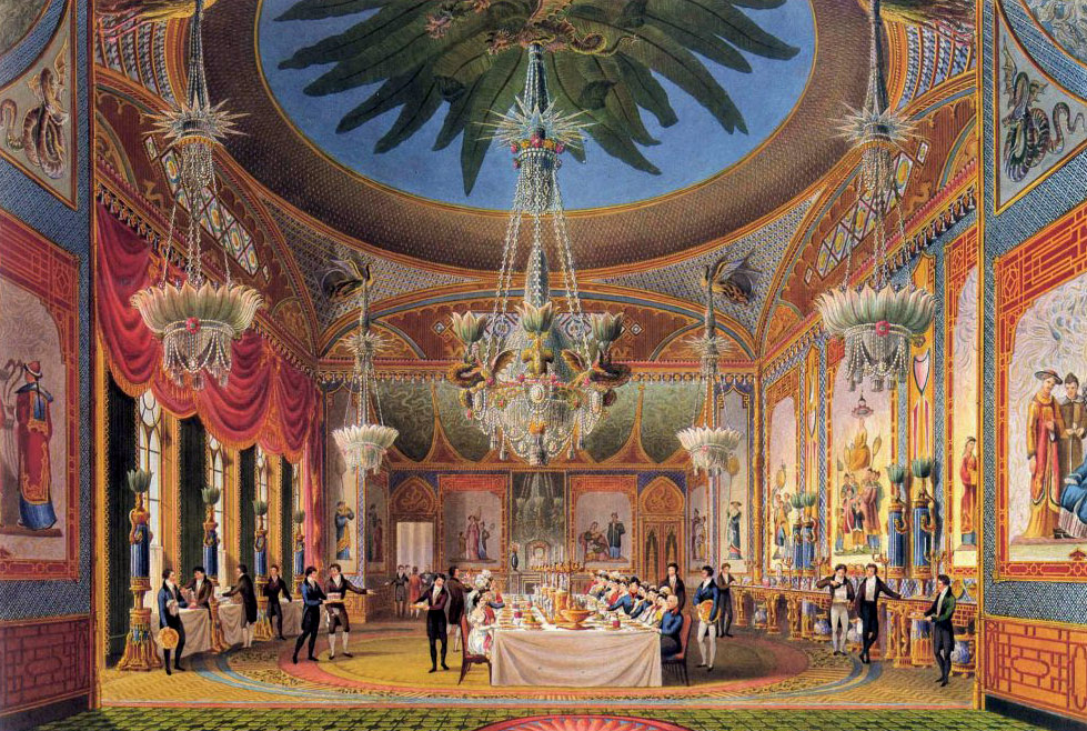 An illustration of the the banqueting room at the Royal Pavilion in Brighton. This drawing is from John Nash's ''Views of the Royal Pavilion'' (1826). Images of Chinese domestic scenes line the walls.