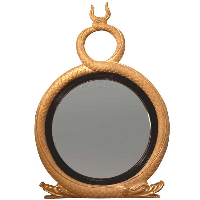 This Regency-style convex mirror is sold by English Georgian America and features two gilded serpents.   Click here for more information.