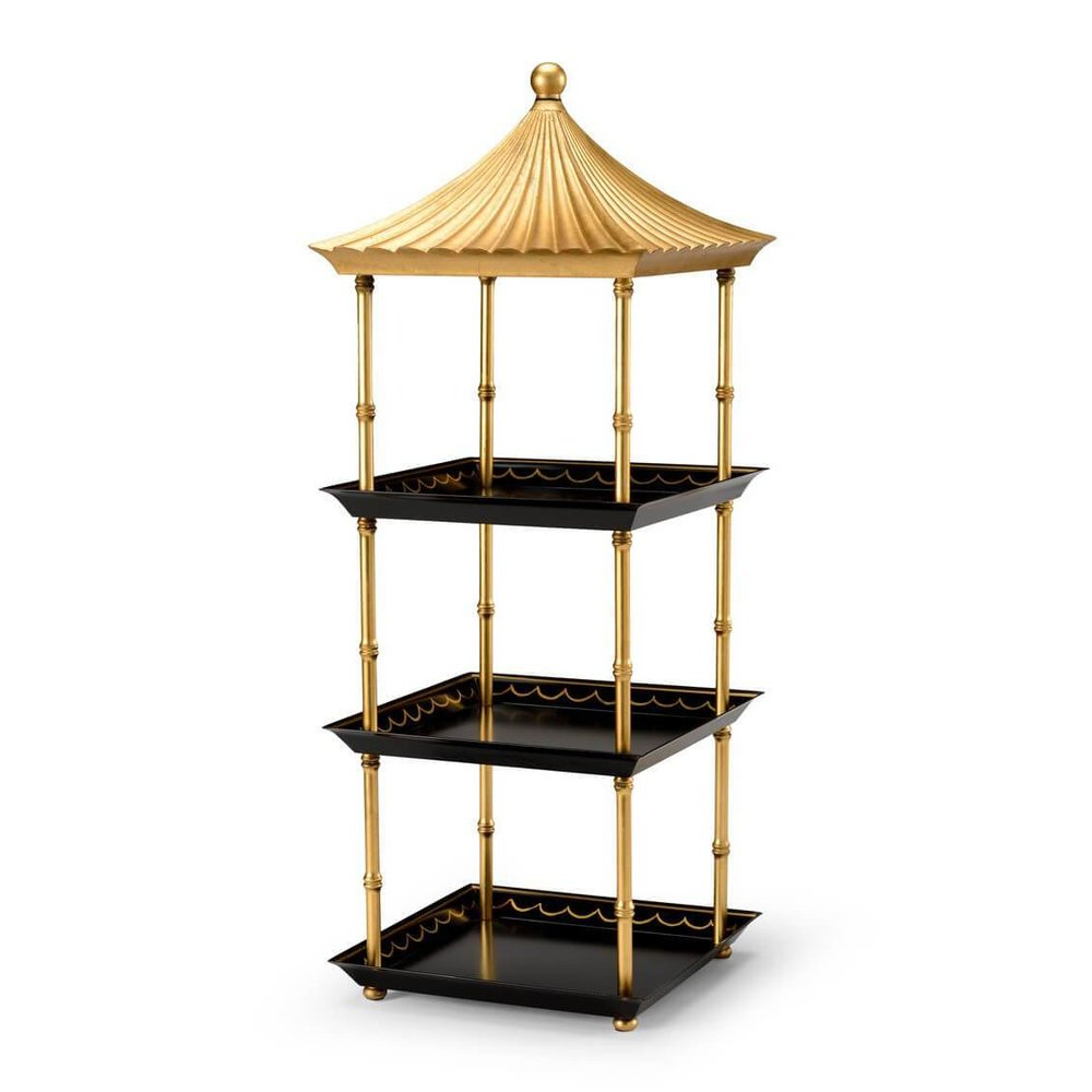 An etagere resembling a Pagoda, such as this piece by English Georgian America, would have fit right in with the Brighton Pavilion's Asian aesthetic.   Currently in-stock at their website.