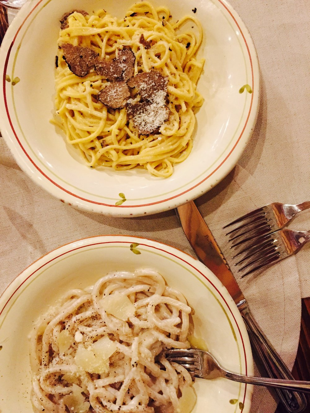 Tagliolini with black truffles and Cacio Pepe at La Vin'Osteria in Radda in Chianti, Tuscany Photo: Danielle Rehfeld