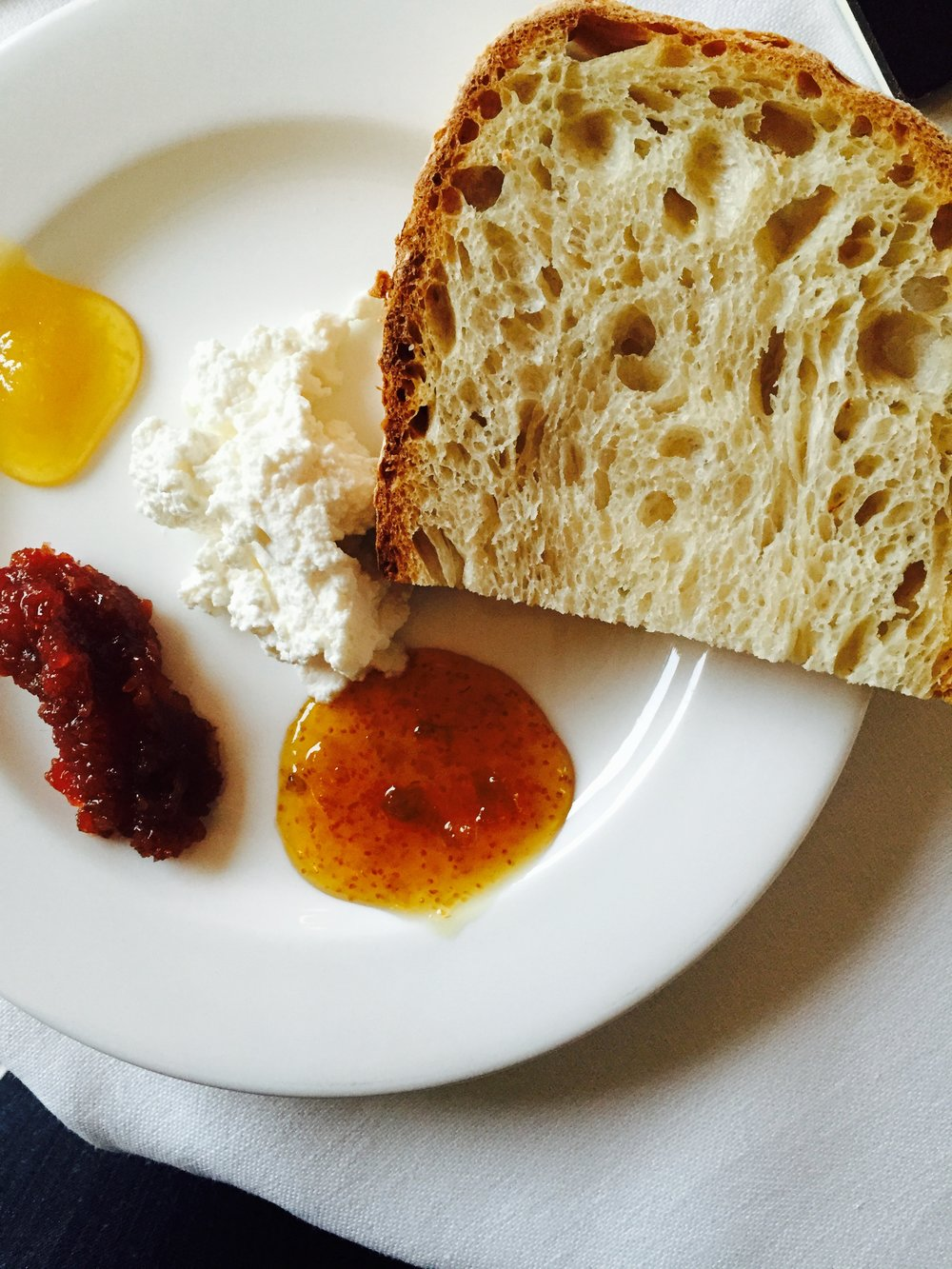 Ricotta, Honey, Fig Preserves and Marmellata in Ischia, Italy, Photo: Danielle Rehfeld