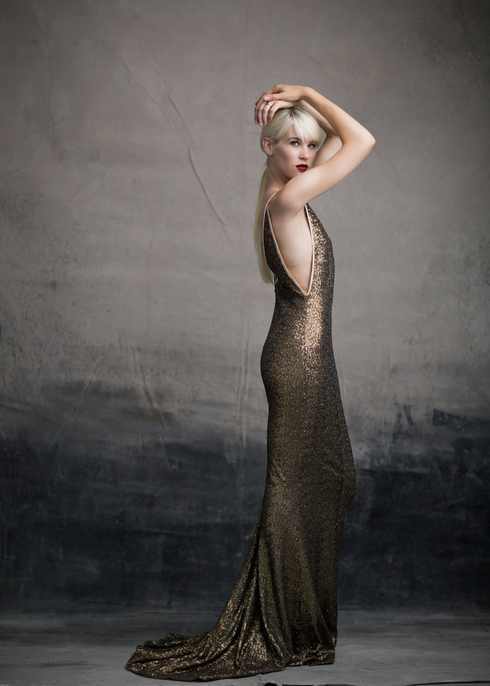 "& FOR LOVE ""Brooklyn"" gown in dirty gold"