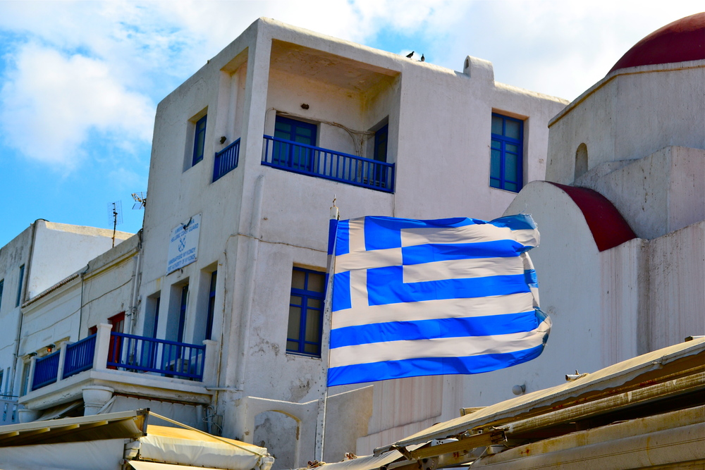 Beautiful Greek flags were abundant everywhere.