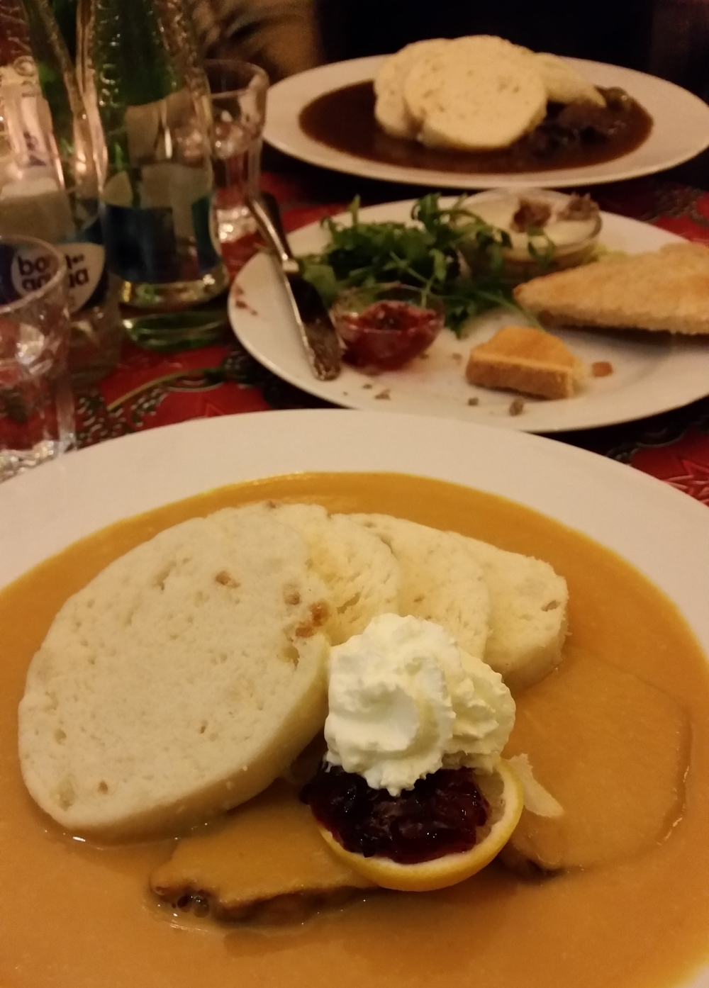 Svíčková at  u šemíka  - my friend had a brown gravy version behind.