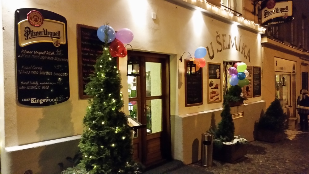 Outside of  u šemíka , all decked out for New Years Eve