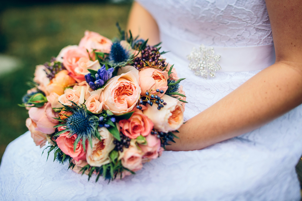 Pocketful of Sunshine Event Design: Columbia, SC  | Peach Garden Roses & Blue Thistle Bouquet