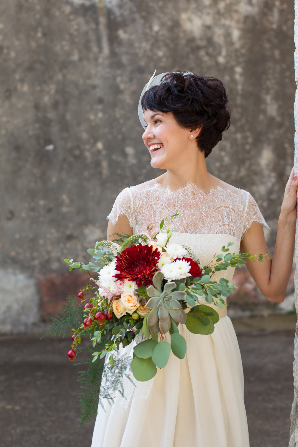Pocketful of Sunshine Event Design: Columbia, SC | Boho Bride With Bright Red Bouquet