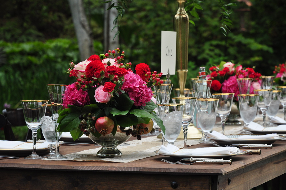 Pocketful of Sunshine Event Design: Columbia, SC | Red, Pink, & Gold Rustic Tablescape