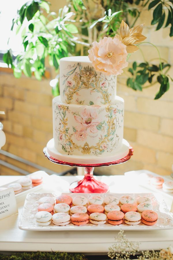 Mango Studios  | Cakes & Macarons by  Nadia & Co  | via  Ruffled  | Watercolor Wedding Inspiration | Pocketful of Sunshine Event Design | Columbia, SC